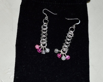 Queens Chain Maille & Crystal Earrings in Gold or Silver