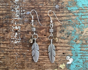 Feather and Bell Silver Earrings