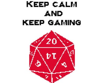 Keep Calm and Keep Gaming Cross Stitch PDF Pattern