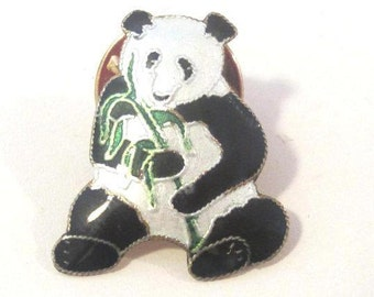 Vintage Sterling silver goldtone Panda enamel pin