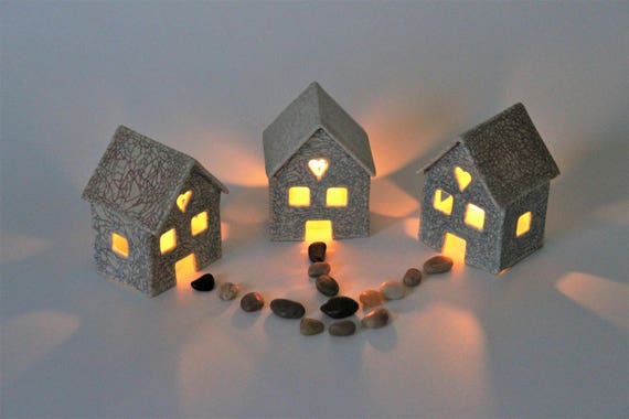 Tea Light Candle Houses - Set of 3 - Stoneware Luminary Houses - Candle Holder - Rustic House - Farmhouse Decor - Fairy House - Garden Decor