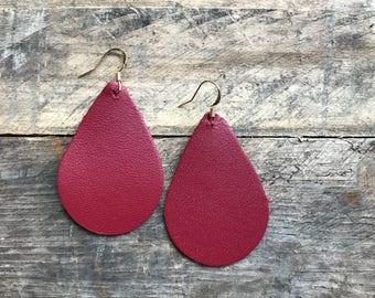 Maroon Teardrop Leather Earrings