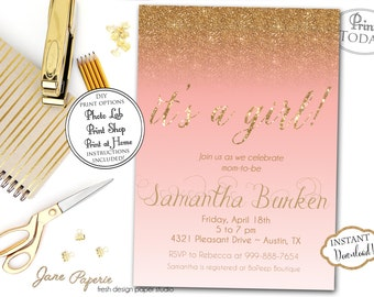 INSTANT DOWNLOAD - Coral Ombre Gold Glitter Baby Shower Invitation - Coral Pink Baby Shower - Glitter Invite - Gold Baby Shower Invite 0169