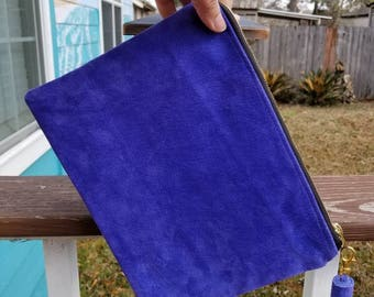 Royal Blue Suede Mini Clutch