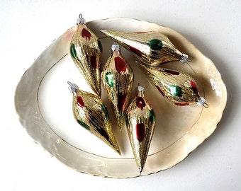 vintage glass christmas european ornaments gold glitter gold red green christmas ornaments