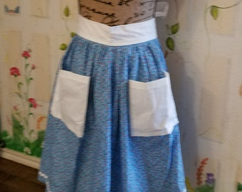 XL Half Apron with Pockets Blue Red Floral Print White Rick Rack