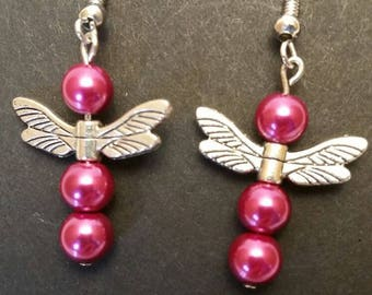 Glass Dark Pink Beads with Dragonfly Wings Earrings