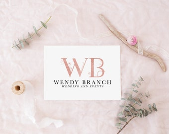 Wedding planner logo, Rose gold logo, Hair stylist logo template, Pink gold logo and watermark, Wedding design glitter logo, Events branding