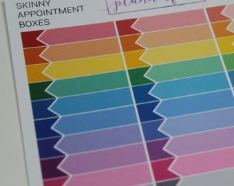Skinny Appointment Boxes | Multicolour Rainbow Functional Stickers for Erin Condren (M026)