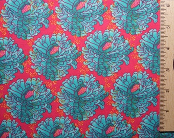 Tina Givens fabric cotton zazu petals wreaths red TG22 Blue cotton fabric Free Spirit fabric 100% Cotton sewing quilting fabric by the yard