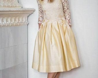 Bridal Gown DAHLIA By BlumArt Wedding / Size 36 / Pale Yellow Ivory Wedding  Dress
