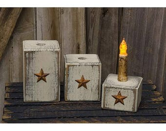 Country Rustic 3pc Taper candle holder with Rusty Star