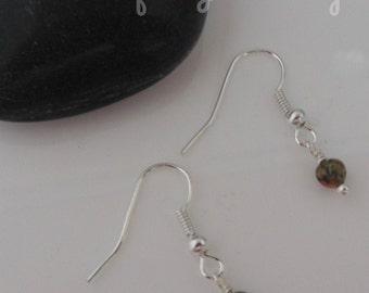 Unakite 4mm Small Round Bead Beaded Earrings ~ Gemstone Crystal Healing ~ Handmade