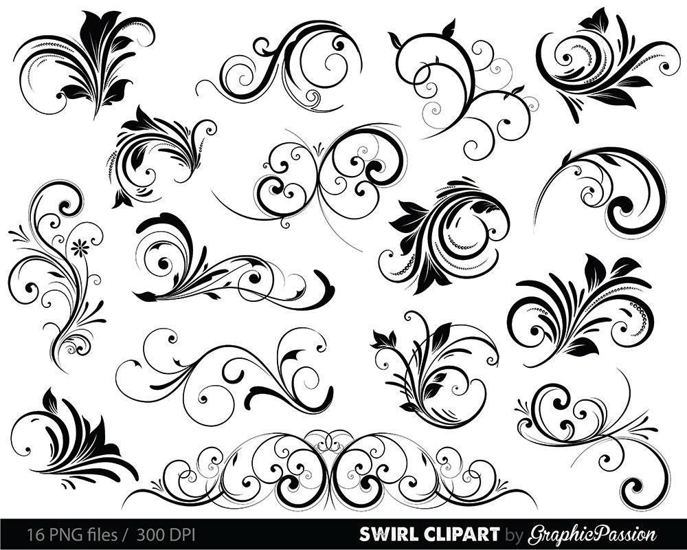 Swirls Clipart Digital Swirls Clip Art Vector Swirls Photoshop