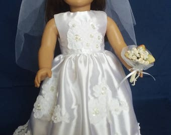 """OOAK Wedding dress to fit your 18"""" doll"""