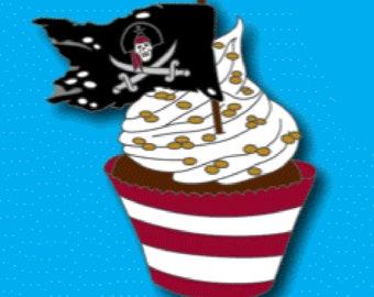Pirate Cupcake Pin - Preorder - Limited Quantity Available, Pirates of the Caribbean Pin, Disney Fantasy Pin Preorder, Hard Enamel Pin