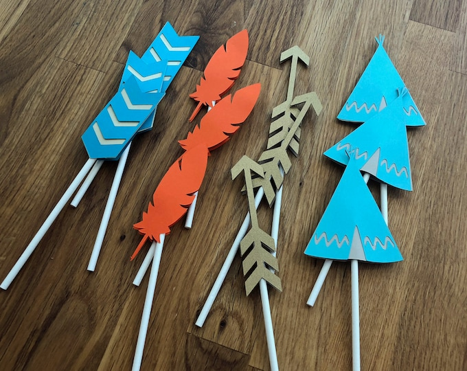 Tribal Cupcake Toppers - Wild One Three Thing Baby Shower Birthday Party Cute Aqua Teal Blue Gold Orange Arrow Chevron Feather Boho Chic Boy