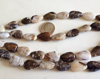 Natural Brioche Agate Beads, 10 x 16mm Smooth Teardrop Beads, Jewelry Supplies