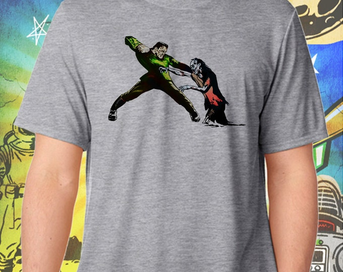 Frankenstein Monster Meets a Walking Dead Zombie / Men's Zombie Gray Performance T-Shirt