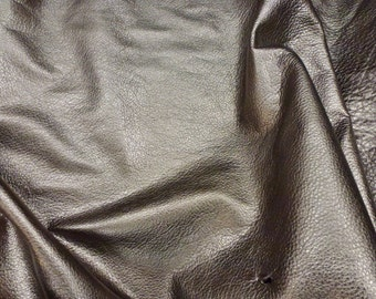 "PEWTER Pebbled Metallic 12""x12"" SOFT cowhide - shows the grain - Leather 3-3.25 oz / 1.2-1.3 mm PeggySueAlso™ E4100-09"