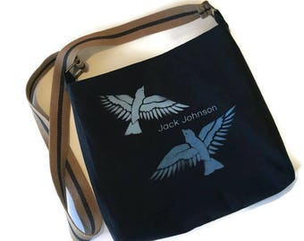 Jack Johnson Bag • Upcycled Tshirt Bag • Navy Crossbody Bag • Shoulder Bag • Jack Johnson Gift