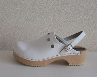 White Wooden Clogs Kids Clogs Childrens Patent Leather Shoes Genuine Leather Shoes Girl Eco Friendly Clogs Swedish Leather Mules  Size 32