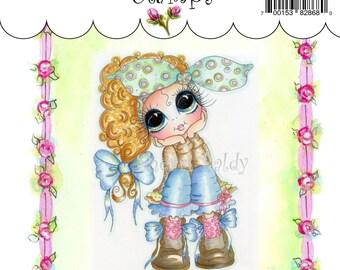 My-Besties Clear Rubber Stamp Big Eye Besties Big Head Dolls Pondering Patunia MYB-0117   By Sherri Baldy