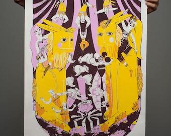 "Selfmade, 3 - Colored Screen Print "" Circus"""