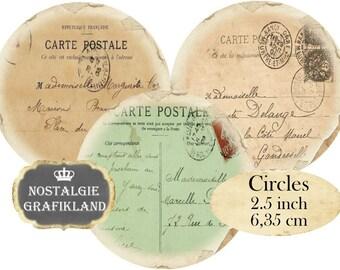 Digital Circles 2.5 inch Vintage Postcards Ephemera Instant Download digital collage sheet C131 carte postale