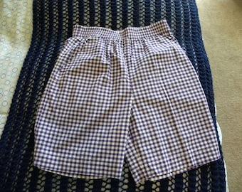 ILIO Vintage Women's Gingham Bermudas Shorts Purple Size Medium Elastic High Waist