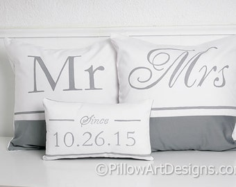 Personalized Pillow Set Mr Mrs Couples Grey White Cotton Hand Painted Made in Canada