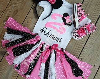 Pink black and White Polka Dot Fabric Skirt Set With or Without Matching Converse