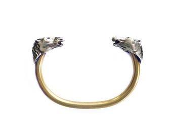Sterling Gold Plated Horse Head Bangle Bracelet - Cuff Bracelet, Vintage Bracelet, Modernist, Sculptural, Marked A Vahan