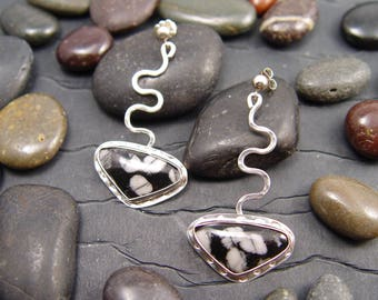 Snowflake Obsidian Sterling Silver Dangle Earrings with A Sqiggle Design