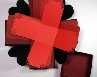 "Explosion Box with Hearts, Shades of Red Explosion Box, Hearts Explosion Box, Black Hearts Explosion Box, 4"" x 4"" cube"