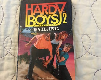 Vintage Hardy Boys +2 Evil Inc. paperback book by Franklin W. Dixon