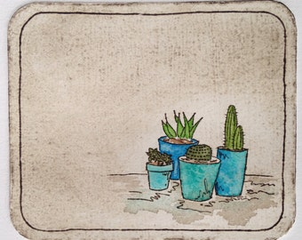 Mini cactus succulent pots original art print - watercolour and etching dry point collagraph print