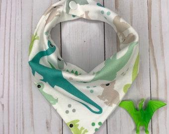 Dino Bandana Bib, Organic Knit Dino Pattern,Flannel Backed, Newborn-Toddler