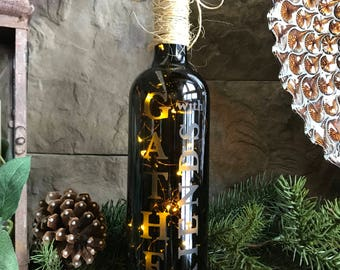 Gather with Friends - Lighted Wine Bottle