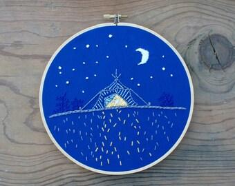 Night Campsite Embroidery Hoop (7-inch diameter)