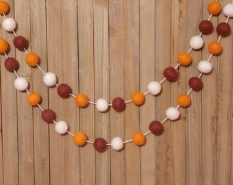 Thanksgiving Garland, Fall, Autumn, Harvest, Holiday, Party, Mantel, Room, Home, Decor, Decorations, Banner, Bunting, Pom Pom, Felt Ball