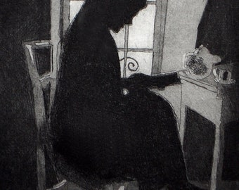 At the Window wall art decor, portrait woman, a hand pulled limited edition etching in black and white.