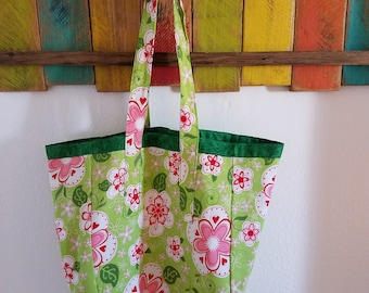 Green and Pink Flowered Canvas Reversible Tote/Grocery Bag; Green and Pink Flowered Everyday Tote/Bag; Tote; Green; Washable