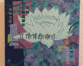 Illuminated Lotus, art quilt, fabric collage, blue, purple, yoga art