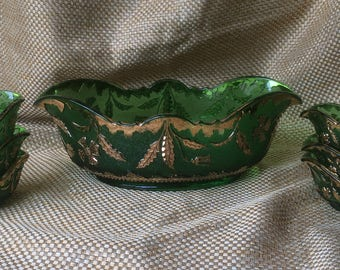 Vintage green glass with gold details 7 piece set