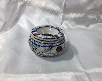 Vintage Ceramic Hand Painted Ashtray Flowers Under Glaze 2 Piece Tobacciana Collectors
