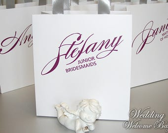 Personalized Bridesmaid's Gift bags with custom name - Gifts bags for Bridal party - Elegant Wedding Party Gift Bags - Custom wedding bagss