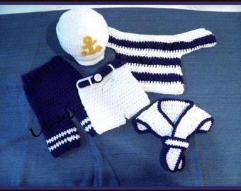 Crochet Baby Sailor Outfit/Photo Prop