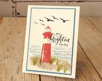 All Occasion Card - Any Occasion Card - Friendship Card - StampinUp High Tide Card - Lighthouse Card - Lighthouse - Card For a Friend