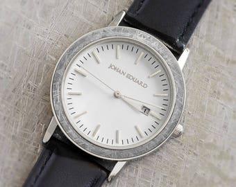 Gibeon Meteorite Inlaid Wristwatch, Silver Metal With Black Leather Strap, Meteorite Jewelry, Johan Eduard Watches